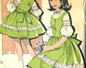 Vintage Advance 9665 Girls Full Skirt Jumper Dress and Blouse with Lantern Sleeves Sewing Pattern Size 7