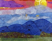 Landscape Sunset Art Fine Art Print of Original Mixed Media Collage