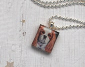Cavalier King Charles Spaniel Scrabble Necklace, Handmade Animal Scrabble Tile Pendant, Wood Charm, Dog Lover Gift, CLEOPATRA the Cavalier