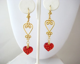 Long Fancy Heart Ruby Red Glass Puffy Heart Dangle Earrings, Sweetheart Romance Collection