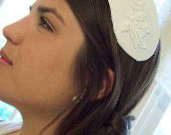 Raw silk  embroidered bridal cap