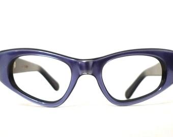 NOS Vintage 60s Brilliant Heavenly Blue Cat Eye Eyeglass Frames. France. Sunglasses. Designer Vintage EYewear.