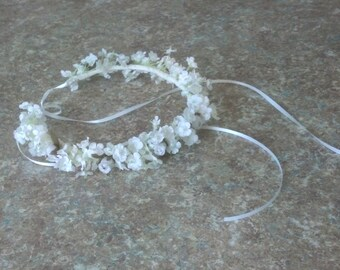 White infant flower crown mini roses baptism headband First communion halo Babys Breath artificial hair wreath baby photo prop 1st birthday