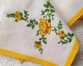 Vintage Yellow Roses Handkerchief