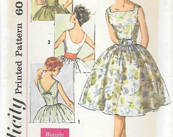Simplicity 3426 UNCUT 1960s Sleeveless Full Skirt Dress Vintage Sewing Pattern Square Neck Scoop Back Bust 30 31.5 32 Rockabilly Bridesmaid