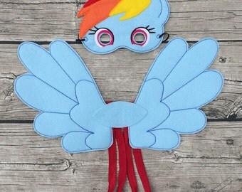Rainbow Pony Felt Mask and Wing Cosplay Set