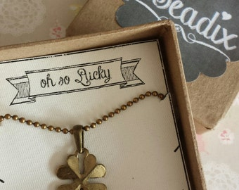 So Lucky. Four Leaf Clover Lucky Charm Necklace. Best Friends, Girl Friend, BFF, Mother or Daughter gift idea.