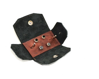 Leather Tuxedo Stud Case - Cuff link Travel Case - Vintage Style Shirt Stud Storage Set