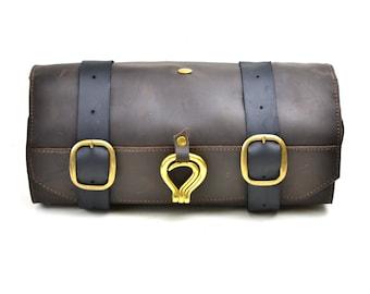Leather Shaving Kit - Men's Leather Toiletry Roll - Military Wet Pack Shaving Bag - Travel Bag for Shaving