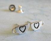 Coffee cup post earrings. Tiny sterling silver, 14k gold filled or solid 14k gold studs. Heart Cappucino lover. Espresso jewelry. Minimalist
