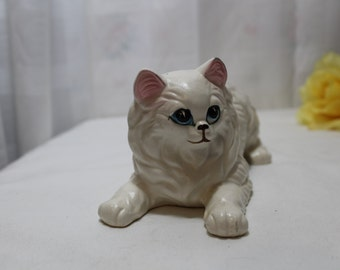 Large Vintage Porcelain Playful Persian Kitten Cat Figurine