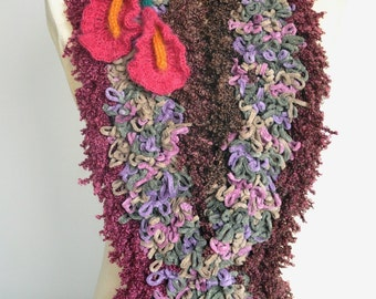 Cozy Calla - Fushia - Crochet Multicolor Loop Scarf