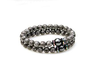 Black Bracelets, STACKABLE Bracelets, Hematite Bracelets, Beaded Bracelets, Gray Bracelets, Set of 2 Bracelets, Modern, Rustic by Mei Faith