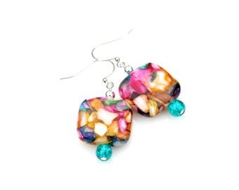 Seashell Earrings Mother Of Pearl Earrings Rainbow Colorful Dangles Beach Jewelry Island Wedding High Fashion Splash Style by Mei Faith