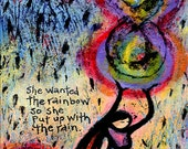Gallery Wrapped Canvas Print - She Wanted the Rainbow, So She Put Up with the Rain