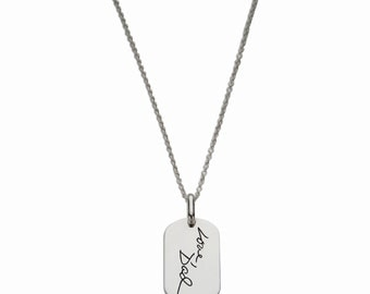 Remembrance Jewelry - Handwriting silver dog tag - personalized silver dog tag - memorial handwriting necklace - signature dog tag