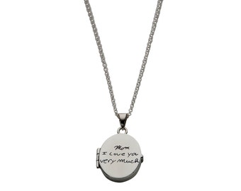 Custom Handwriting Locket / Engraved Flat Oval Locket Necklace / Personalized Signature Necklace / Memorial Jewelry / Personalized Jewelry