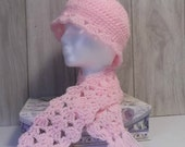 Pink Shell Edged Hat and Long Shell Scarf  - one size fits all  - Girls / Women - ready to ship