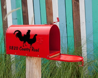 Mailbox Number with Rooster & Chicken Vinyl Decal - Mailbox - Address Decal - Mailbox Decal - Rooster - Address