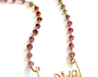 Gold Love Necklace with Watermelon Tourmaline. October Birthstone Necklace