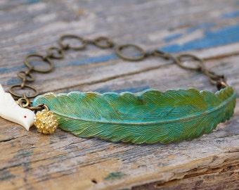 Feather Bracelet Green Bird Bracelet Rustic Forest Leaf Bracelet Gift for Her Boho Bird Charm Bracelet Woodland Cuff Summer Festival