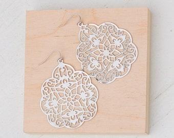 Silver Lace Earrings, Silver Earrings, Silver Filigree Earrings, Bohemian Wedding, Large Silver Earrings, Silver Statement Earrings, Gray