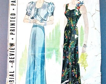 1930s Evening Gown Pattern by Pictorial Review 9141 Vintage Sewing 30s Dress Pattern 1930s Bolero Jacket  Bust 36 inches