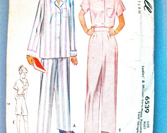 McCall 6539 vintage 1940s Pajama Pattern Ladies' & Misses' Two-Piece Pajamas Sewing Pattern  Bust 38 inches