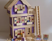 Wooden Dollhouse, 3-Storey Purple Doll House set, Kids gift, Handmade wood toy, Waldorf inspired, Jacobs Wooden Toys 'LAVENDER DREAM'