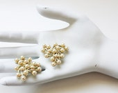 Elegant Emmons Mid Century Gold & Faux Pearl Earrings - FREE SHIPPING