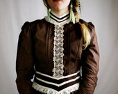 Vintage Chocolate Brown Gunne Sax Dress - Romantic Bohemian Boho Victorian Edwardian Style Frock - Women's Feminine Dress Size Medium