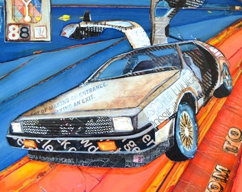 Back to the Future inspired ART PRINT or CANVAS delorean 80's movies 1980's retro flashback wall home decor pop culture marty, All Sizes