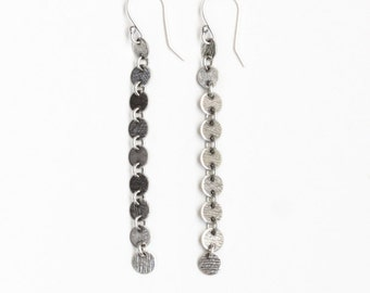 "Long silver earrings of 9 connected silver discs named after Goddesses of Art and Literature - ""Muse Earrings"""