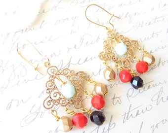 Candy Drop Chandelier Earrings - Vintage Beaded Earrings - Cubic Zirconia Beaded Earrings - Gold Red Black Mint Earrings - Bohemian