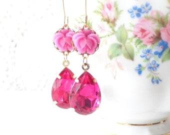 Fuschia Pink Dangle Earrings - Vintage Jewel Flower Earrings - Pink Rhinestone - Ruffled Rose - Bride - Valentines Day Gift