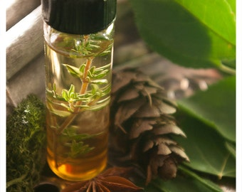 cabin fever - natural perfume and cologne oil - 1/2 oz of unisex delight - juniper woods, clinging vines, wild flowers