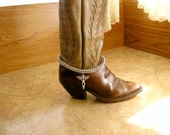 """Chainmail Boot Bracelet 12"""" long, made with 1/4"""" aluminum jump rings, a silver winged cross with a lobster clasp and 2"""" extender chain."""