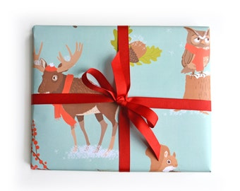 Gift Wrap, wrapping paper, holiday gift wrap, woodland gift wrap, christmas paper