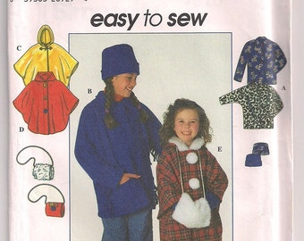 Girls Jacket Pattern, Fringed Jacket, Poncho with hood, Hat Pattern, 19 - 22 inches, Muff  Pattern, Simplicity 7870 Size 7 8 10 12