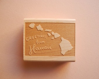 Greetings from Hawaii State Original Hand Lettered Rubber Stamp