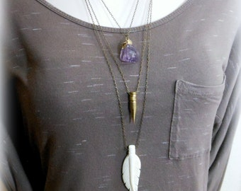 Feather necklace carved bone jewelry long feather necklace