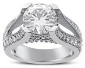 8mm round  cut MOISSANITE & diamonds spit shank style engagement ring 14K white gold R77M