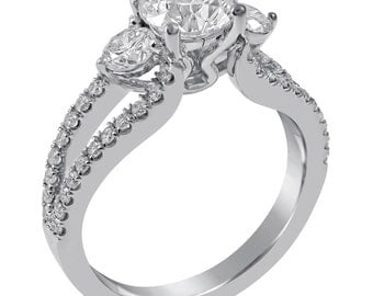 Round Cut Split Shank Three Stone Diamond Engagement Ring KR115