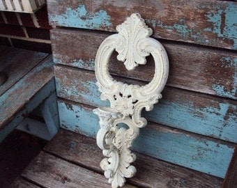Vintage Shabby Chic Candelabra Wall Sconce Candle Holder Skeleton Key Repurposed Distressed Chippy