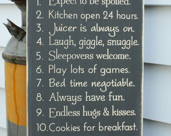 Grandma's House Rules Nana Papa Family Rules Wood Sign - 12x24 Customizable Carved Engraved Distressed Wooden Sign