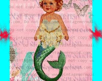 MERBABY FABRIC BLOCK Fantasy Fabric Block Mermaid Fabric Panel Applique for Quilting merb35.