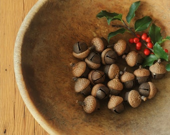 Rusty Jingle Bell Acorns, Also Available as Ornaments, Rustic Woodland Wedding