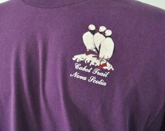 Vintage Tshirt Cabot Trail Nova Scotia Canada Puffins Tee Purple Science Nature Birds Tshirt XL