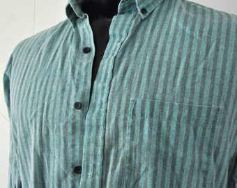 Vintage 80s Houston Button Up Shirt Gray and Light Teal Aqua Collar Thin and Soft 80s Casual MEDIUM