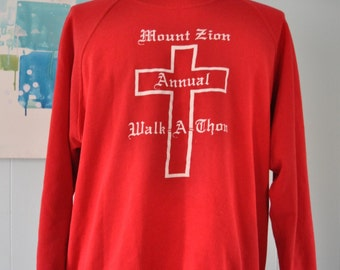 Vintage Sweatshirt Mount Zion Walk a Thon Simple Cross Design Soft and Thin Church Bible Red White LARGE XL